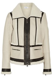 Vince Leather Trimmed Shearling Jacket Ivory