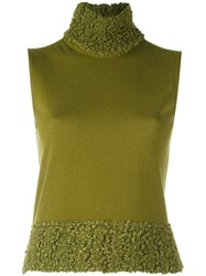 Christian Dior Vintage Boucle Top Green