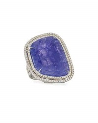 Rina Limor Abstract Tanzanite Ring With Diamond Double Halo