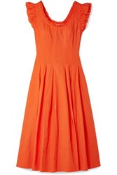 Ulla Johnson Camille Ruffled Lace Up Cotton Poplin Midi Dress Papaya