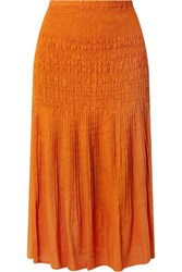 Nicholas Smocked Gauze Midi Skirt Orange