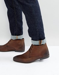 Asos Chukka Boots In Brown Leather Brown