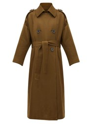 Petar Petrov Mona Double Breasted Wool Blend Trench Coat Khaki