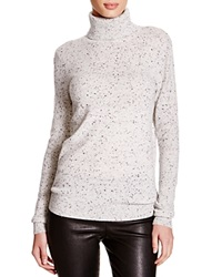 C By Bloomingdale's Turtleneck Cashmere Sweater Light Grey Donegal