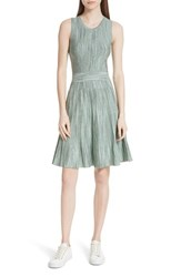 Sandro Stretch Knit Fit And Flare Dress Green