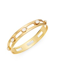 Stephanie Kantis Monaco White Quartz Studded Cutout Bangle Bracelet Gold White