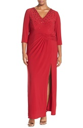 Marina Embellished V Neck Jersey Gown With Front Slit Plus Size Red