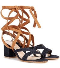 Gianvito Rossi Janis Low Denim And Suede Sandals Blue