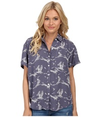 Obey Wyatt Shirt Blue Multi Women's Short Sleeve Button Up