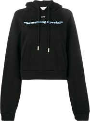 Off White Printed Hooded Sweatshirt Black