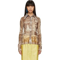 Acne Studios Beige And Brown Printed Shirt