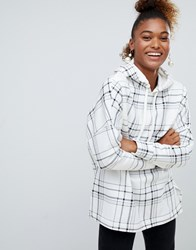 Monki Check Hoodie In Off White