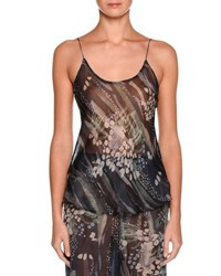 Giorgio Armani Floral Scoop Neck Silk Shell Multi