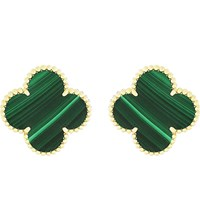 Van Cleef And Arpels Magic Alhambra Gold Malachite Earrings Yellow Gold
