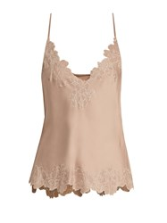 Carine Gilson Lace Trimmed Silk Satin Cami Top Nude