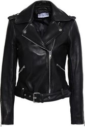Claudie Pierlot Leather Biker Jacket Black
