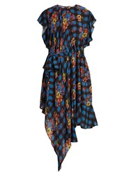 Preen Line Ora Floral And Check Print Woven Dress Blue Multi