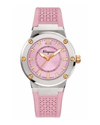 Salvatore Ferragamo 33Mm F 80 Two Tone Watch W Diamonds And Rubber Strap Pink