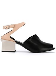 Jil Sander Contrast Panel Sandals Black