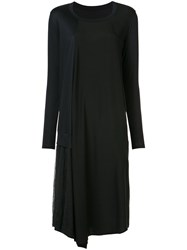 Y's Long Sleeve Jersey Dress Women Cotton Lyocell Tencel 2 Black