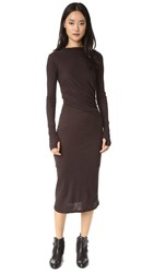 Enza Costa Ruched Long Sleeve Dress Dark Brown