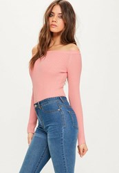 Missguided Pink Ribbed Bardot Knitted Bodysuit Salmon