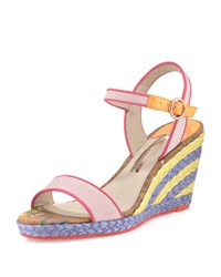 Sophia Webster Lucita Striped Wedge Sandal Pastel Pink