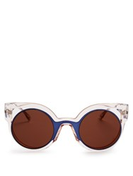 Fendi Bi Colour Round Framed Sunglasses Pink Multi