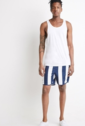 Forever 21 Striped Swim Trunks Blue White
