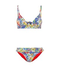 Stella Mccartney Plunge Floral Printed Bikini Top Multicoloured