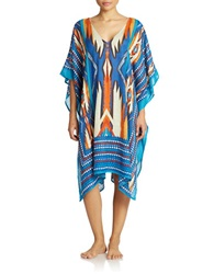 T And C Theodora And Callum Multi Color Tribal Print Cover Up Blue