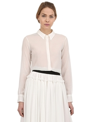 Larusmiani Stretch Silk Chiffon Shirt White