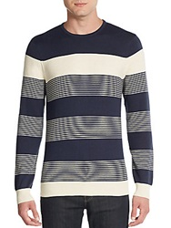 Vince Camuto Colorblock Striped Cotton And Cashmere Sweater Navy Multi