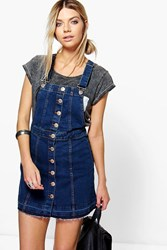 Boohoo Button Front Denim Pinafore Indigo