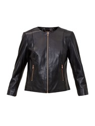 Ted Baker Fai Collarless Leather Jacket Black