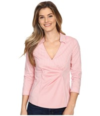 Nydj Gingham Shirting Fit Solution Guava Women's Blouse Pink
