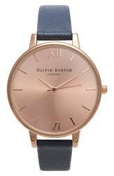 Olivia Burton Women's Big Dial Leather Strap Watch 38Mm