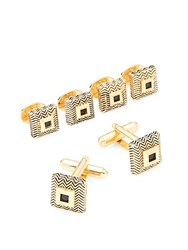 Saks Fifth Avenue Chevron Cuff Links Gold