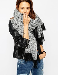 Asos Oversized Scarf With Tassels In Boucle Knit Lightgrey
