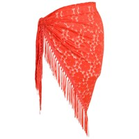 Chesca Floral Lace Shawl One Size Coral