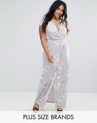 Club L Plus Wrap Slinky Maxi Dress With Cap Sleeve In Print Multi