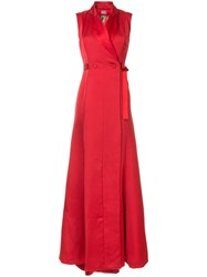 Alexis Mabille Waist Tied Maxi Dress Red
