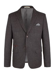Racing Green Men's Berry Herringbone Blazer Charcoal