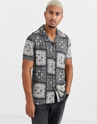 Only And Sons Short Sleeve Revere Collar Bandana Print Shirt In Black