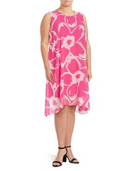 Vince Camuto Plus Printed Chiffon Overlay Dress Pink