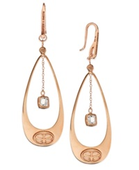 Sis By Simone I Smith White Topaz Drop Of Love Earrings In 18K Rose Gold Over Sterling Silver 1 5 Ct. T.W.