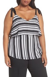 City Chic Plus Size Stripe It Lucky Top Black Stripe