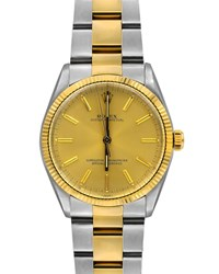 Rolex Pre Owned Oyster Perpetual Two Tone Bracelet Watch