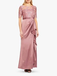 Adrianna Papell Embroidered Maxi Gown Rose
