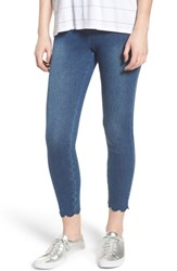 Lysse Scallop Hem Denim Leggings Mid Wash